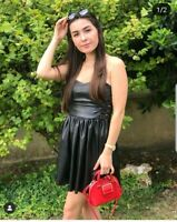 Zara Black Faux Leather Dress Xs UK 6