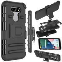 For LG Aristo 5/K31/Phoenix 5 Case Shockproof Holster Clip Black +Tempered Glass