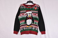 Women's Ugly Christmas Sweater Light Up Penguin, Black, X-Large