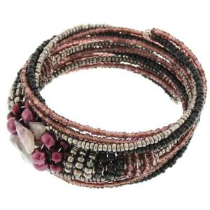 WIRE CHAMPAGNE BLACK PEWTER SEED BEADS AMETHYST CHIPS BANGLE bracelet