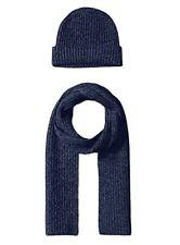 New 100% Cashmere Wool Scarf Beanie Watch Cap Knit Hat Indigo Blue $300