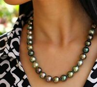 stunning AAA 10-9 mm Tahitian round multicolor pearl necklace 18 INCH