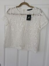 PRIMARK ATMOSPHERE WHITE LACY NET TOP SIZE 12 BNWT