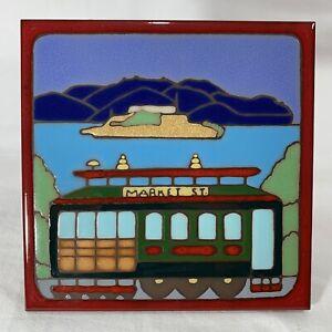 "Market Street Cable Car San Francisco Alcatraz Picture Tile 6x6"" Italy Catilina"