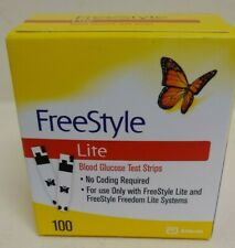 100 FreeStyle Lite Glucose Blood Test Strips Dents/Dings exp 2/2021 Ship Free!