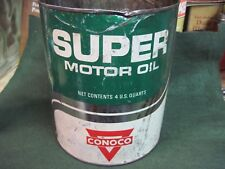 CONOCO MOTOR oil CAN  4 QT 1 GAL tin metal GAS FILLING SERVICE STATION VINTAGE