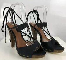 Love Label 5 38 Black Peep Open Toe Ankle Strap Stiletto Gladiator High Heels