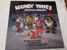 "Mcdonalds Translite Drive Tru Advertising Sign 14"" Looney Tunes Festive Friends"