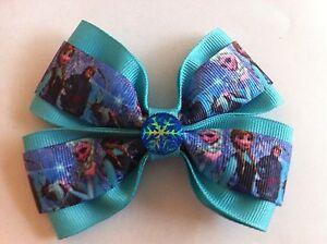 "Girls Hair Bow 4"" Wide Frozen Elsa Anna Aqua Ribbon Blue Snowflake Frn Barrette"