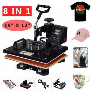 "8in1 15"" Digital Manual Heat Press Transfer T-Shirt  Sublimation Printer Machine"
