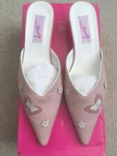 Carvela Pointed Pink Leather Kitten Heeled Mules EU39 UK6 BNIB