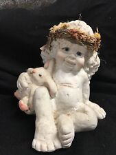 "Dreamsicles 4.5"" Sitting Cherub Angel with Bunny Rabbit"