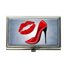 Red Stiletto and Lips Business Credit Card Holder Case