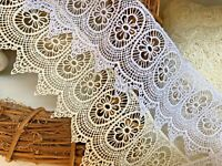 """*NEW* 8cmm/3"""" Beautiful Pointed edge Guipure Lace Trim.White or Ivory Cream"""