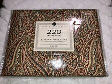 Home Bedding Basic Collection Burgundy Paisley 4-pc Set Queen 220 Thread NWOT