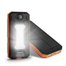 AU 50000mah Solar Panel Power Bank 2 USB 9 LED Battery Charger for Mobile Phone Orange