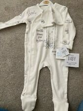 Tatty Teddy White Unisex Sleepsuit 3-6months BNWT George