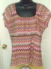 Requirements Womens Pink/Red/Yellow/Brown Jagged Line Shirt Top Size XL