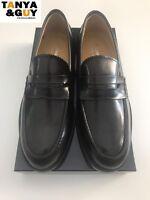 SCARPE UOMO MOCASSINI COLLEGE PELLE VERNICE BLU NERO TESTA MORO Giannini Shoes