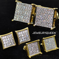 18K Gold ICED OUT AAA Lab Diamond Micropave Square Stud Hip Hop EarringS