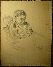 Dessin Ancien Fusain Etude Portrait Bébé Enfant LUBIN DE BEAUVAIS 1900 SOGNOLLES