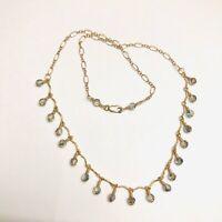 Dainty Gold Filled Swarovski Crystal Choker Necklace Beaded Chandelier Drop