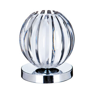 Chrome Touch Office Bedside Desk Table Lamp With Clear Acrylic & Frosted Glass