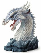 "8"" Horned Azure Dragon Bust Statue Fantasy Sculpture Figure Figurine"