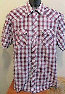 Wrangler Snap Front Western Blue & Red Plaid Lightweight Shirt Size 17 Mens EUC