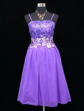 Cherlone Purple Prom Ball Evening Bridesmaid Formal Knee Length Dress Size 12