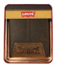 NEW LEVI'S PREMIUM LEATHER PASSCASE BIFOLD ID CREDIT CARD WALLET BROWN 31LV1411