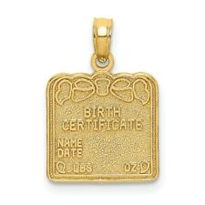 14K Yellow Gold Birth Certificate Pendant