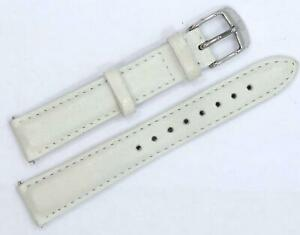 MICHELE 16MM OFF WHITE LEATHER LADIES WATCH STRAP WITH STAINLESS STEEL BUCKLE