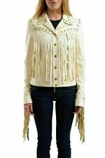 Just Cavalli Women's Ivory Fringes Decorated Leather Jacket US S IT 40