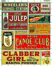 5064 DAVE'S DECALS BUSINESS SET MIXED EARLY CENTURY SODA SIGNS TOBACCO DRY GOODS