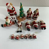 Mixed Lot of 15 Santa Claus Ornaments Figurines Christmas Trees Resin