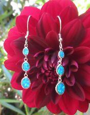 Ohrring 3 Tropfen blauer Opal Feueropal Sterling Silber 925