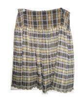 NWT Oililiy Archives ~ Art to Wear ~ Bl & Tan Plaid Drop Waist Skirt ~ 44