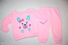 Baby Girls Outfit SWEATSHIRT & SWEAT PANTS Lt Pink CUTE BUNNY Face Feet 12 MO