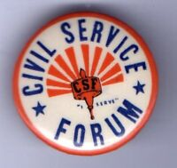 Vintage pin CIVIL SERVICE Forum pinback button CSF Letters INITIALS Monogram