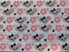 """3 YARDS M2MG MISS MOUSE 3/8"""" GROSGRAIN RIBBON 3 YDS"""
