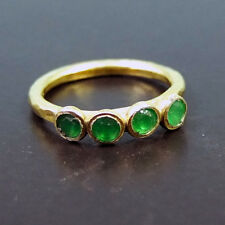 Handmade Beautiful Four Stone Emerald Ring 22K Gold over 925K Sterling Silver