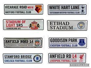 Official Premier Football Team Club Metal 3D Street Road Window Signs UK Seller