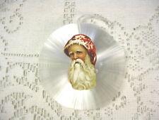 Vintage Spun Glass Ornament *Die Cut Angel in Center* Old World Santa Center*
