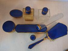 7 pcs Antique Cobalt Blue Guilloche Enamel Vanity Set Bottles Mirror Jars Brush