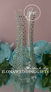 Personalized Swarovski Crystal Vase Bowl Unique Gift Bling Sparkle Modern Decor