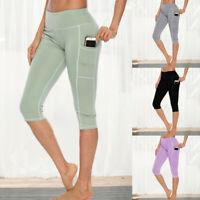 Damen 3/4 Capri Leggings Yoga Hose Sporthose Fitness Jogginghose Taschen Leggins