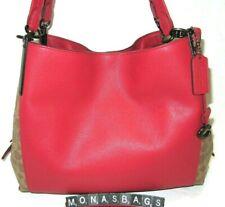 Coach 76078 Dalton Large Shoulder Bag Tan Signature Red Apple Leather Handbag