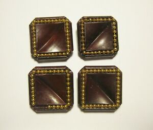"""4 Vintage Burgundy Maroon Plastic Shank Buttons with Gold Beads  1"""" Square"""