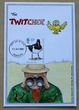 SEA BIRDS 1989 RARE HAND PAINTED 'THE TWITCHER' COMIC FDC HEREFORD H/S